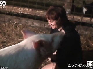 Short-haired chick gets fucked by a hungry/horny pig