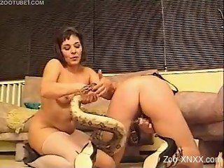 Hardcore fucking with a sexy snake and two lesbians