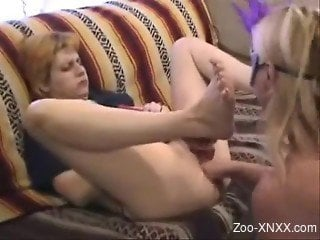 Mature fat lady gets wrecked by a hung dog's cock