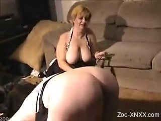 Brown dog destroying this slut in a maid-like get-up
