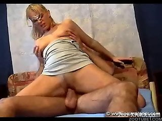 Blonde in a mask riding this dude's meaty cock