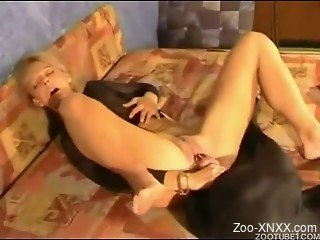 Crazy blonde rides a big doggy dick in cowgirl pose