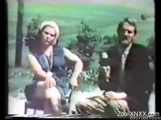 Vintage farm bestiality XXX with sexy chicks and their dogs