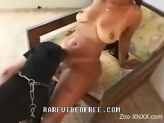 Bitchy toned babe and black dog in filthy and hot bestiality a...