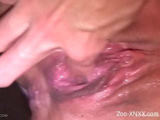 Wormy pussy porn video with a skinny brunette zoophile