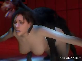 3D porn video with a busty brunette and her dog