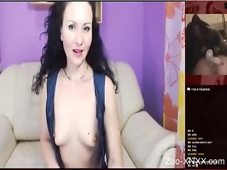 Brunette loves masturbating while watching zoophilia