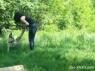 Outdoor fun with the dog in insolent scenes of sexual zoophilia
