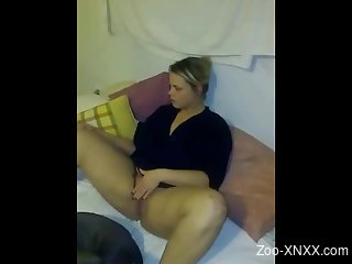 Sexual delight with a chubby amateur and her dog
