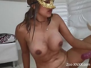 Poolside fuck session with a chesty Latina chick