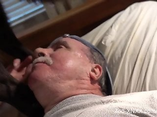 Old dude blowing a big-dicked animal casually
