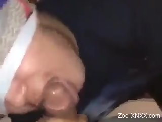 Needy woman throats cock in the middle of the night, blind folded