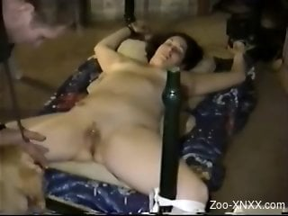 Helpless zoophile prepping for HOT zoo cunnilingus